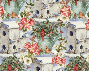 Per Yard, Bird House and Watering Can Fabric From David Textiles