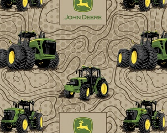 John Deere Fabric Topographic Tan Fabric FLANNEL From Springs Creative