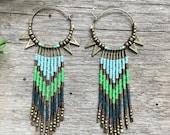 Toyo-Uke-Bime... Brass hoop and seed bead fringe earrings, gypsy, tribal, bohemian, handmade, OOAK