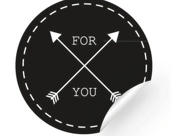 25 label/sticker - FOR YOU, 40 mm, round