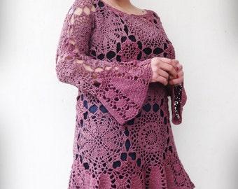 Knitted Tunic, Crochet Tunic, Lace Tunic, Crochet Dress, Romantic Dress, Beach Woman Tunic, Plus Size Dress, Plus Size Tunic, Woman Dress
