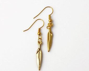 Feather Earrings - Gold Plated - Pinna earrings - Boho earrings