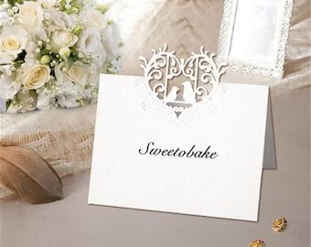 100pcs Love Bird Wedding Place Cards Table Name Card  Wedding Name Card