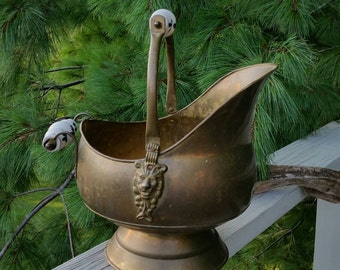 Brass Coal Scuttle with Lion Head Accents & Delft Handle