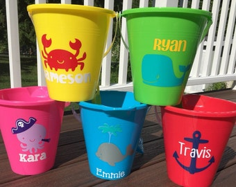 Adorable Personalized Sand Pails-Great for  Easter baskets, Flower Girl or Ring Bearer Gifts, Birthday Gifts...End of School Celebrations!