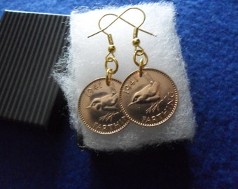 75th Birthday gift for a woman 1942 farthing British coin earrings unusual present