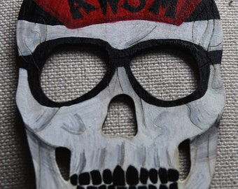 Hand Painted Wooden Skull, Cool Dude....