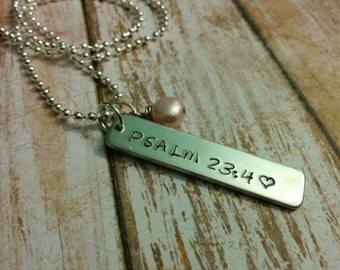 Psalms 23 vs 4 hand stamped Bible verse pendant with pink freshwater pearl on ball chain sterling silver necklace choose your verse