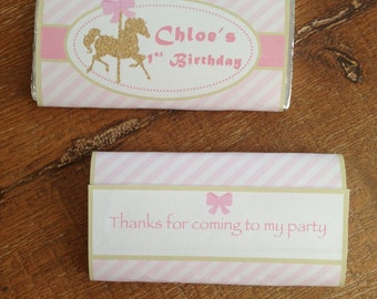 Carousel Chocolate Wrappers - Pink / Gold, Pink, Pink/Aqua