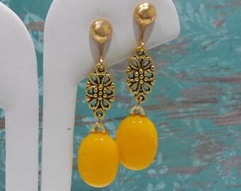 Long Orange Clip On Earrings with Floral Detail, Dangle Clip Earrings, Clipon, Fused Glass Jewelry - Tangerine Orange- -6