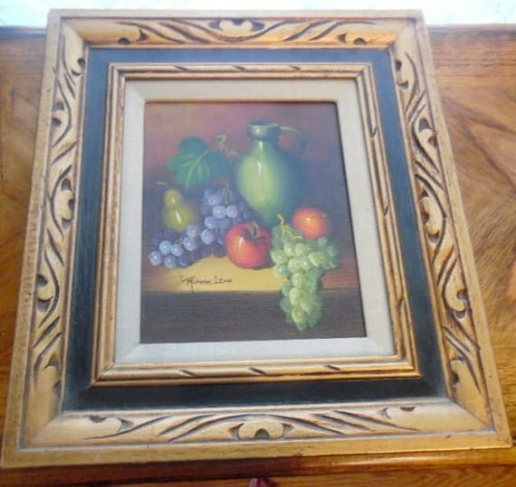 Awesome Hand Painted Fruit Still Life In Elegant Antique Gold
