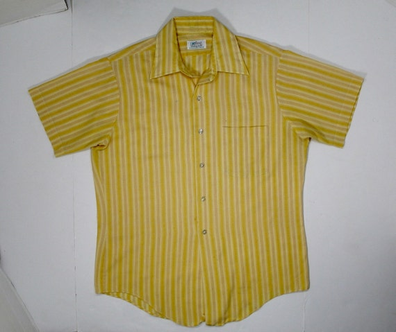 70s kmart shirt gold yellow striped m button up short sleeve for Kmart button up shirts