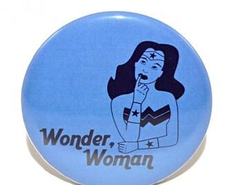 "ON SALE Wonder, Woman Redux 2.25"" pin-back button on blue"