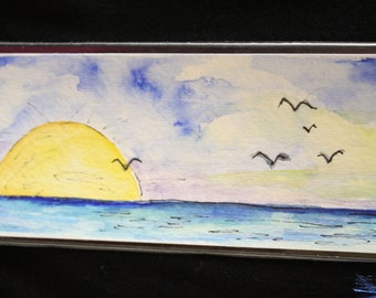 BOOKMARK - Original Watercolor of a Seascape
