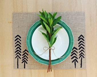 Burlap Placemats with Hand-Painted Trees in Black.  Set of 4 or 6 Woodland Placemats.