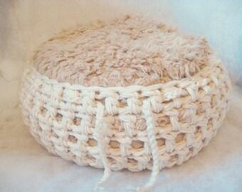 Crochet Baby Basket, Photo Prop, Cream, N Use Photo N Listing, cream baby basket, cream basket photo prop, basket photo prop, crochet basket