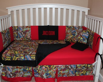 Marvel Comics 5 Piece  Crib Bedding Set