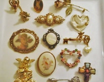 Vintage LOT of 13 Victorian Designer Brooches, AJC, Avon, Lenox, 1928 Jewelry, Premier Designs..Cameo, Heart, Rose, Floral, Cupid, Angel pin