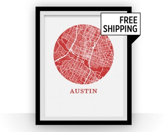 Austin Map Print - City Map Poster