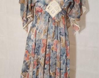 Vintage 1970s Burgn'dye Boho Dress