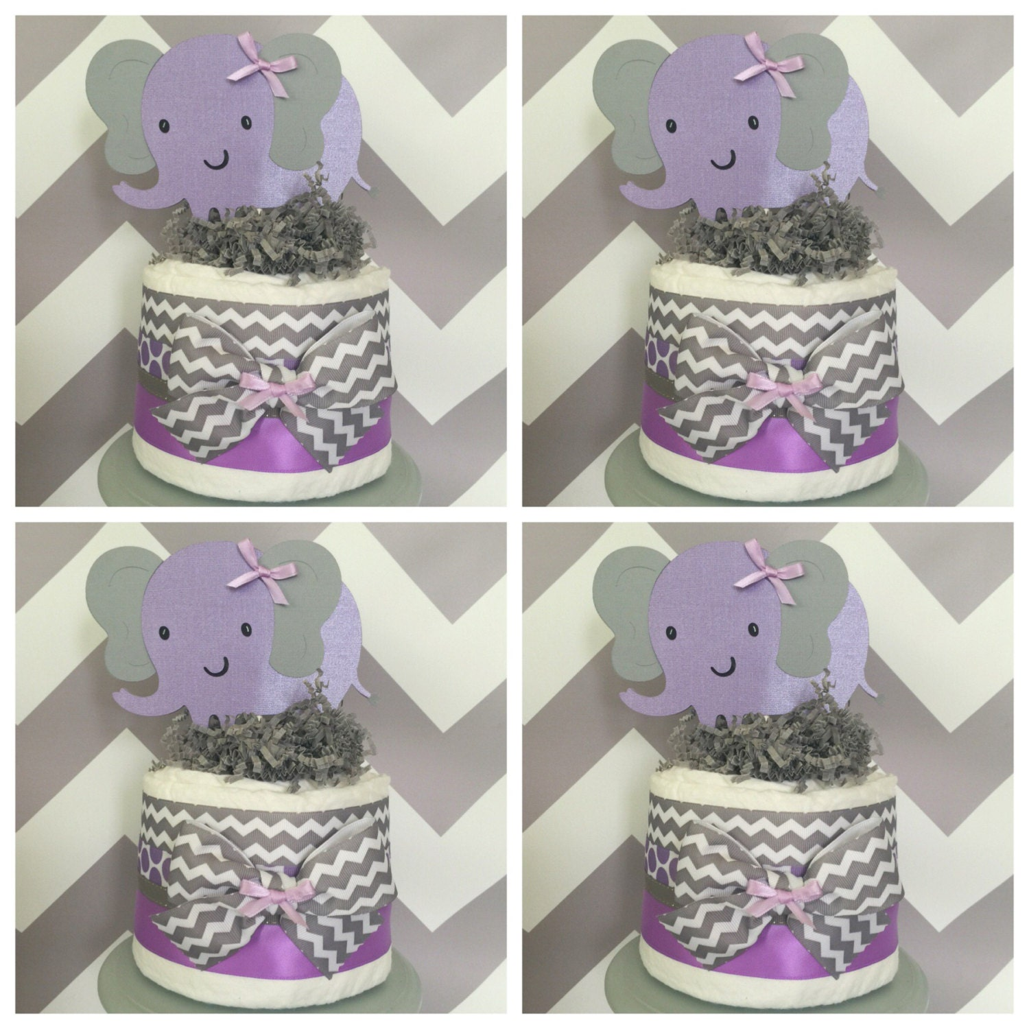 Lavender Baby Shower Decorations Elephant Chevron Mini Diaper Cakes In Lavender And Gray Elephant
