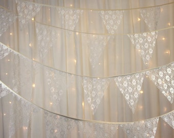 Traditional Ivory Rose lace Wedding Bunting no gaps Style - various lengths - Wedding Bunting Banner Ivory Lace