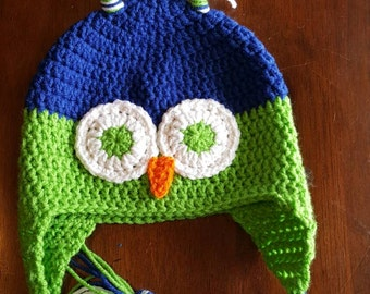 Super cute owl hats (spring green/royal), owl earflap hat, winter hat