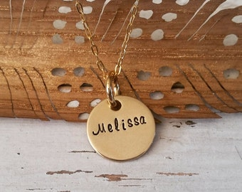 Personalized Hand Stamped Necklace-Gold Nugold Necklace-Family-Name Necklace-Graduation-Birthday-Mother's Day-Mother-Grandma-Couple-Wedding