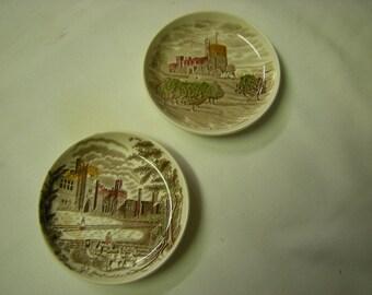 2 vintage mini plates-Johnson Bros-Haddon Hall-Norris castle-souvenir-collection-shelf display-