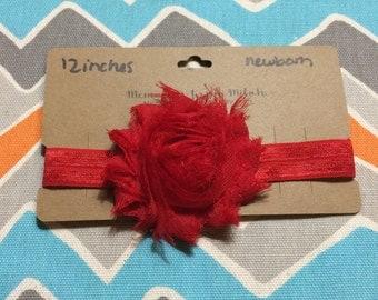 Newborn Sized Shabby Flower Headband (12 inches)