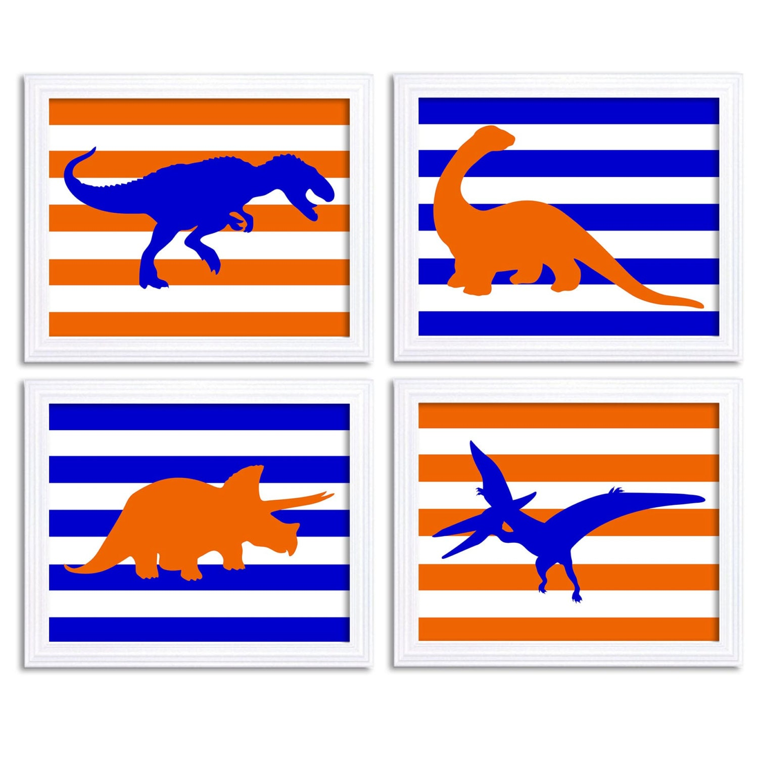 Dinosaurs Nursery Art Set of 4 Prints Navy Blue Orange Stripes Tyrannosaurus Rex Triceratops Brachio