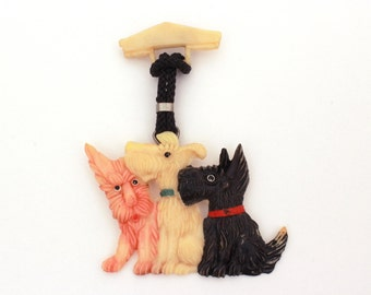 Celluloid Scotty Pin, Scottie Dog Pin, Westie Scotty Pin, Vintage Scotty Dog, Celluloid Scottie, Bakelite Era Pin, Celluloid Westie Dog Pin