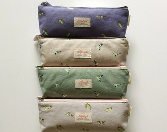 1 PC of Interesting Bird & Insects Series Canvas Pencil Case Makeup Pouch Pen Bag Zipper