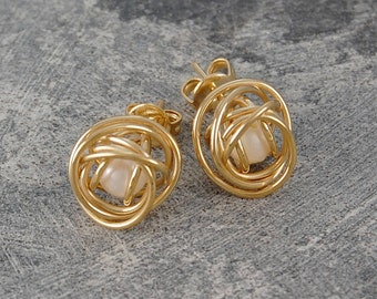 Gold Wire Studs, White Pearl Studs, Pearl Earrings, Gold Studs, Wire Wrapped Studs, Gold Earrings, White Pearl, Studs, Earrings, Gold Cage