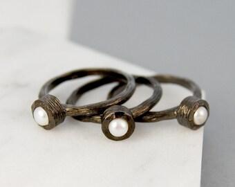 Birthstone Pearl Ring, Oxidised Silver Ring, Ring, Pearl Ring, Unusual Birthstone Ring, White Pearl Ring, Real Pearl Ring, 925 Pearl Ring