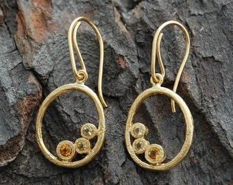 Citrine Drop Earrings, Gold Earrings, Citrine Dangle Earrings, Organic Earrings, Boho Jewelry, November Birthstone, Citrine Gemstone,Vermeil