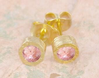 Gold Tourmaline Earrings, Gemstone Earrings, Stud Earrings, Tourmaline Studs, Gold Earrings, Gold Studs, Pink Stone Earring, Gold Birthstone
