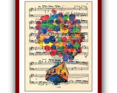 UP Balloon House Carl and Ellie Poster Watercolor Print Movie Up Print Disney Princess   8x10 Wall Decor Book Page Upcycled Dictionary