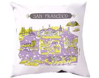 San Francisco Pillow-Home Goods-Lavender-Grey-Yellow-16 x 16