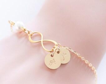Gold Initial Bracelet, Gold Filled Bronze Infinity Bracelet, Friendship Jewelry, Personalized, Wedding Bracelet, Wedding Gift, Bridesmaid