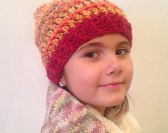 """Accordion"" Tuque crocheted hand - Look Cap / beanie - big wool - choose your colour - with or without pompon"