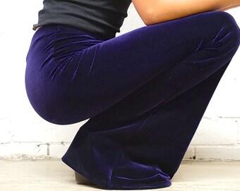 Velvet Bell Bottoms - Velvet Pants - Velvet Festival Flares - Deep Purple Flare Pants