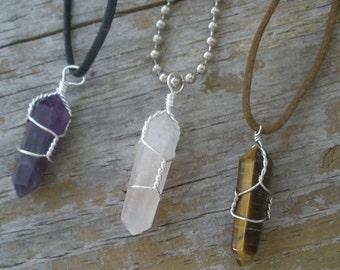 Crystal Necklace/ Crystal Quartz/ Wrapped Crystals/ Amethyst Crystal/ Rose Quartz Crystal/ Healing Crystals/ Tigers Eye/ Green Aventurine