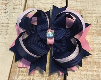 Navy & Pink Hair Bow- Navy boutique bow- Pink Navy hairbows