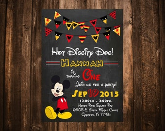 Oh Two-dles! Mickey Mouse Birthday Invitation; Printable or set of 10
