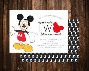 Mickey Mouse Clubhouse 2nd Birthday Invitation; Double Sided; Printable or set of 10