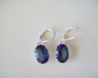 PERFECT SIZE - Blue Mystic Earrings Sterling Silver - 14x10 mm