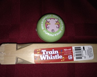 "A wooden Train Whistle and Yoyo toys.  Train whistle is 7.5"" long, the yoyo is standard."