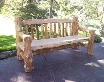 Rustic Log Wooden Bench