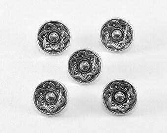 Set of 5 Silver Shank Buttons - 5/8 Inch 15 mm Metal Buttons - Silver Tone Button - Spiral Pattern Button - Flower Buttons - Atomic Design